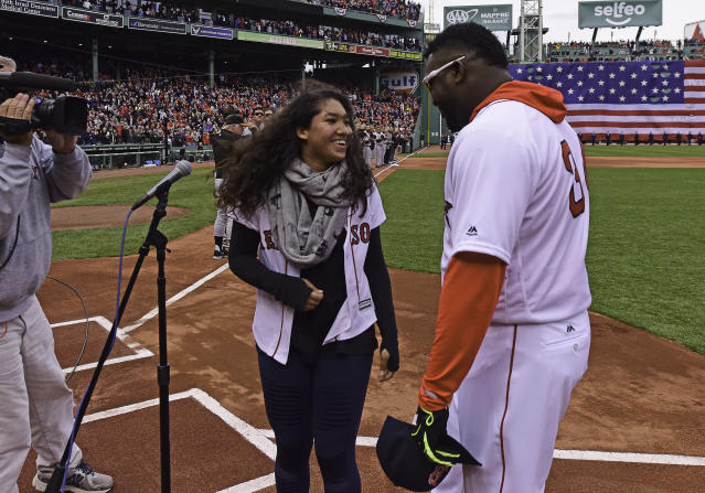Alexandria Ortiz, daughter of David Ortiz, posted an emotional Instagram message touting her father's toughness and positive attitude. (Photo by Michael Ivins/Boston Red Sox/Getty Images)