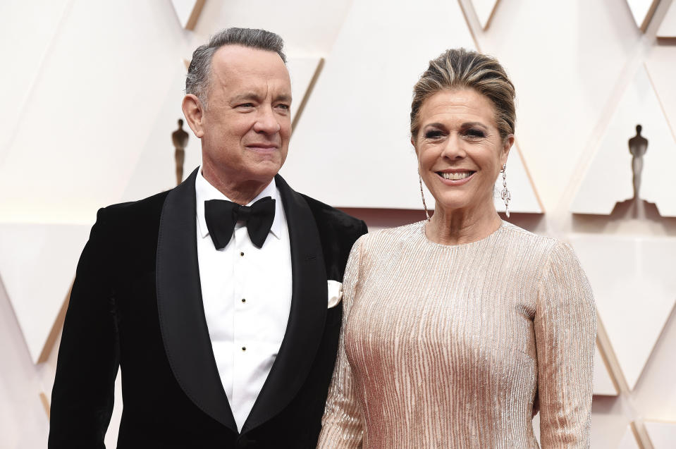 Tom Hanks, left, and Rita Wilson arrive at the Oscars on Sunday, Feb. 9, 2020, at the Dolby Theatre in Los Angeles. (Photo by Jordan Strauss/Invision/AP)