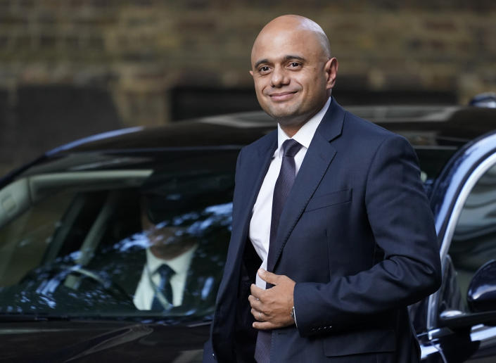 """Britain's Health Secretary Sajid Javid arrives at 10 Downing Street, in London, Wednesday, Sept. 15, 2021. British Prime Minister Boris Johnson is shaking up his Cabinet as he attempts to move on from a series of political missteps and U-turns. Johnson's office said he would appoint """"a strong and united team to build back better from the pandemic."""" (AP Photo/Alberto Pezzali)"""