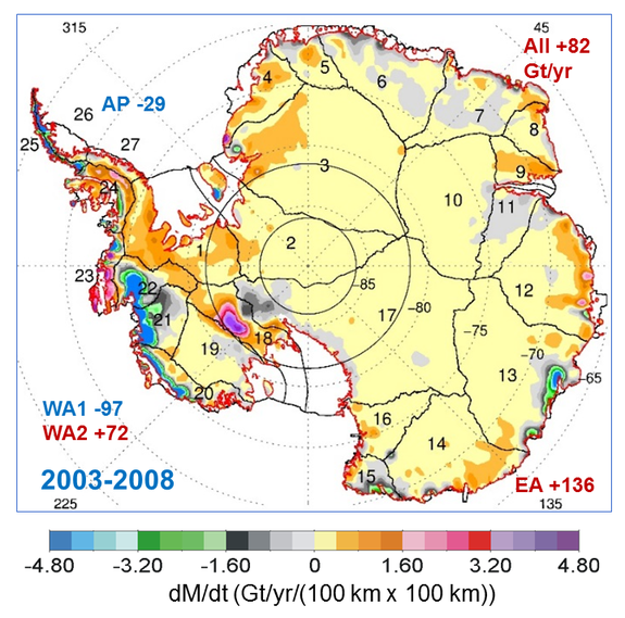 A NASA satellite map of Antarctica shows the rates of mass changes from 2003-2008.