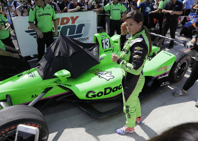 Danica Patrick waits to qualify for the IndyCar Indianapolis 500 auto race at Indianapolis Motor Speedway in Indianapolis, Sunday, May 20, 2018. (AP Photo/Darron Cummings)