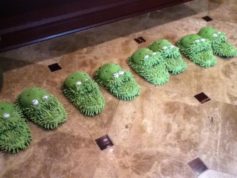 """Robin lined up pairs of her favorite froggy slippers for the anchor team to wear for the occasion. """"So excited to see George, @SamChampion @JoshElliottABC and @LaraSpencer today at my apt after @GMA! I have your froggy slippers ready. :-),"""" Robin tweeted beforehand."""