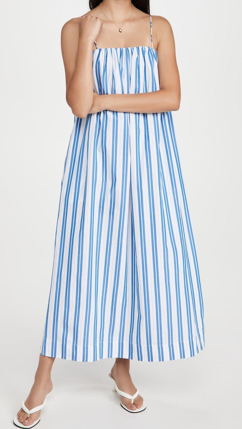 <p>Fast-paced and carefree, an Aries would love the slight swing of this adorable <span>Ganni Stripe Cotton Strap Dress</span> ($285). The breezy silhouette and light cotton poplin highlight Aries's uncomplicated nature.</p>