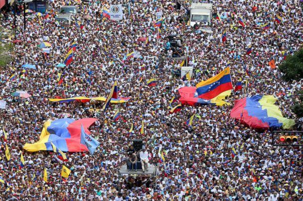 PHOTO: Thousands of protesters gather at Avenida Francisco De Miranda during a demonstration organized by Juan Guaido, Feb. 12, 2019 in Caracas, Venezuela. (Edilzon Gamez/Getty Images)