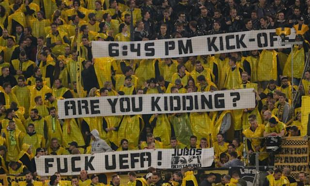"<span class=""element-image__caption"">Dortmund fans send out a clear message to Uefa</span> <span class=""element-image__credit"">Photograph: Matthew Ashton - AMA/Getty Images</span>"