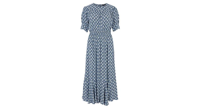 Printed Yoke Midaxi Waisted Dress
