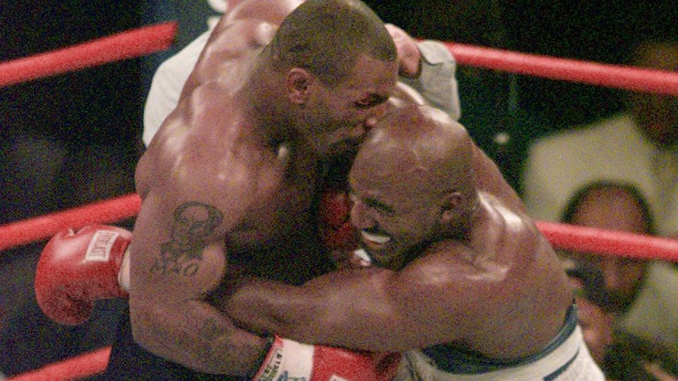 Seen here, the infamous Mike Tyson bite on Evander Holyfield during their 1997 bout.