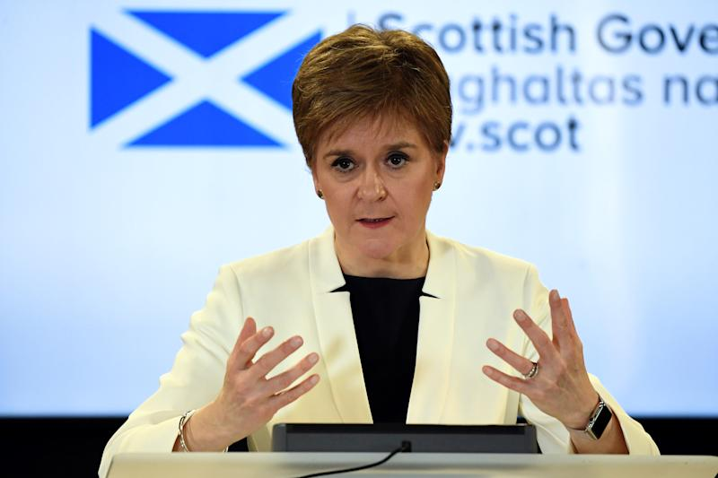 Scotland's First Minister Nicola Sturgeon holds a news conference on coronavirus disease (COVID-19) in Edinburgh, Scotland, Britain March 22, 2020. Andy Buchanan/Pool via REUTERS