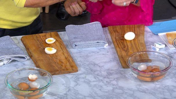 PHOTO: Chef Ryan Scott shows how to perfectly slice a hard-boiled egg with a string of floss. (ABC News)