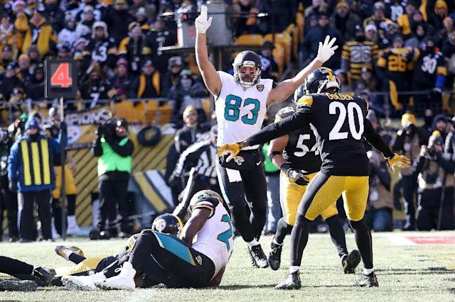The Jaguars are one game from the Super Bowl for the third time in their history after beating the Pittsburgh Steelers (AFP Photo/Rob Carr)