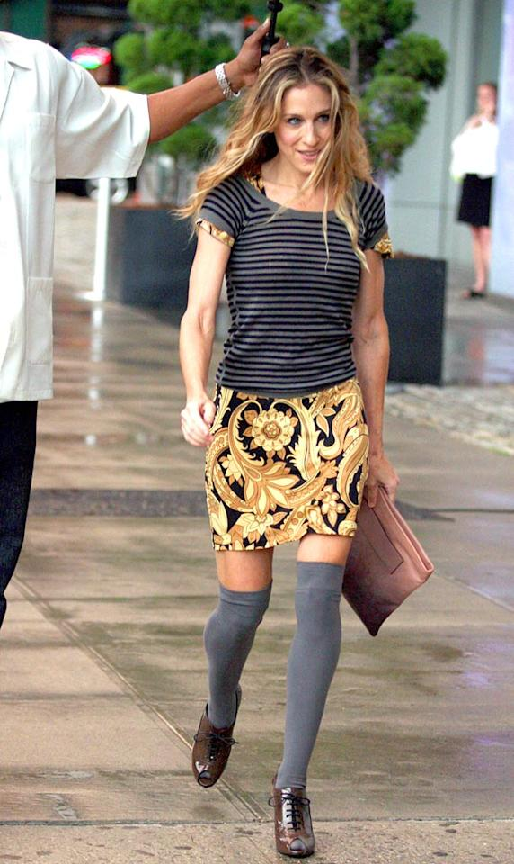 "Although Carrie's outfits are usually so busy that they make our eyes hurt, we must admit that ""Sex and the City"" costume designer Patricia Field always keeps things interesting. Dara Kushner/<a href=""http://www.infdaily.com"" target=""new"">INFDaily.com</a> - September 28, 2007"