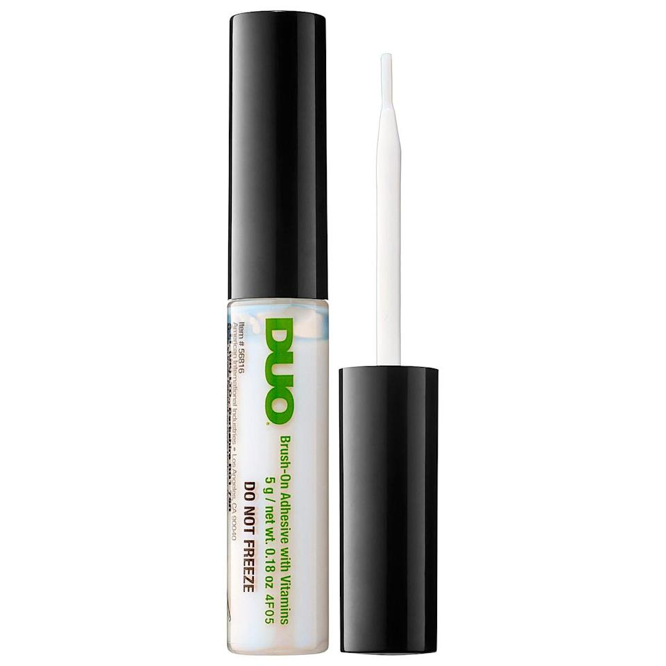 """<p><strong>DUO</strong></p><p>sephora.com</p><p><strong>$9.00</strong></p><p><a href=""""https://go.redirectingat.com?id=74968X1596630&url=https%3A%2F%2Fwww.sephora.com%2Fproduct%2Fbrush-on-adhesive-P387891&sref=https%3A%2F%2Fwww.oprahmag.com%2Fbeauty%2Fskin-makeup%2Fg32683911%2Fbest-eyelash-glue%2F"""" rel=""""nofollow noopener"""" target=""""_blank"""" data-ylk=""""slk:SHOP NOW"""" class=""""link rapid-noclick-resp"""">SHOP NOW</a></p><p>This brush-on adhesive is great for beginners, because it's easy to apply and not so strong you can't remedy any mistakes, says <a href=""""http://www.shiraaaron.com/"""" rel=""""nofollow noopener"""" target=""""_blank"""" data-ylk=""""slk:Shira Aaron"""" class=""""link rapid-noclick-resp"""">Shira Aaron</a>, a professional makeup artist in New York City. Plus, it's clear vitamin-enriched formula dries invisibly—an extra important feature if your line isn't perfect. </p>"""