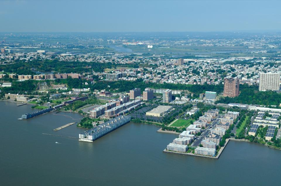 Aerial view of Edgewater and back Fairview, New Jersey, Usa