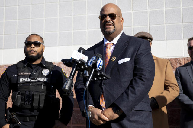 Atlantic City Prosecuter Damon Tyner, seen here a day after the shooting, announced on Wednesday that Michah Tennant has died. (Tyger Williams /The Philadelphia Inquirer/AP)