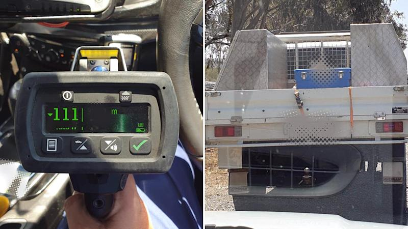 Picture of the radar gun used by police when they caught the speeding driver and a photo of the ute