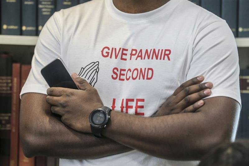 A family member is pictured wearing a t-shirt in support of Singapore death row inmate P. Pannir Selvam during a press conference in Petaling Jaya July 5, 2019. — Picture by Firdaus Latif