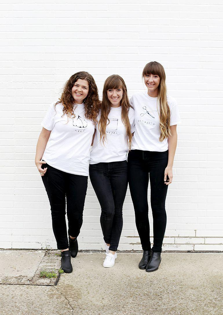 """<p>Here's an easy one for you and your sisters to pull together! Start with some simple white T-shirts, and use fabric markers or printable iron-on sheets to transform yourselves into rock, paper, and scissors.</p><p><strong>Get the tutorial at <a href=""""https://themerrythought.com/diy/diy-rock-paper-scissors-costume-printable/"""" rel=""""nofollow noopener"""" target=""""_blank"""" data-ylk=""""slk:The MerryThought"""" class=""""link rapid-noclick-resp"""">The MerryThought</a>.</strong></p><p><a class=""""link rapid-noclick-resp"""" href=""""https://www.amazon.com/Jolees-Boutique-Image-Transfer-Fabrics/dp/B008BTPQYM/ref=as_li_ss_tl?ie=UTF8&qid=1474986745&sr=8-2&keywords=jolee%27s+iron+on+transfer+paper&linkCode=sl1&tag=syn-yahoo-20&linkId=328a9dcc8407c4d854ed20fe142f4857&ascsubtag=%5Bartid%7C10050.g.21530121%5Bsrc%7Cyahoo-us"""" rel=""""nofollow noopener"""" target=""""_blank"""" data-ylk=""""slk:SHOP IRON-ON TRANSFER PAPER"""">SHOP IRON-ON TRANSFER PAPER</a></p>"""