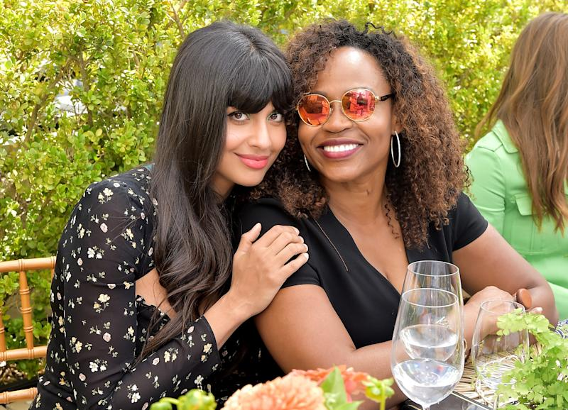Jameela Jamil and Pearlena Igbokwe attend the Glamour x Tory Burch Women To Watch Lunch.