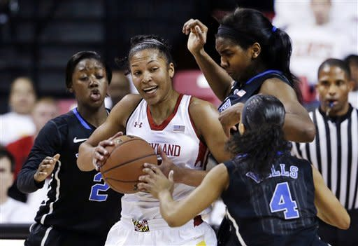 Maryland forward Alyssa Thomas, center, looks for a teammate as she is guarded by Duke guard Alexis Jones (2), center Elizabeth Williams and guard Chloe Wells (4) in the first half of an NCAA college basketball game in College Park, Md., Sunday, Feb. 24, 2013. (AP Photo/Patrick Semansky)