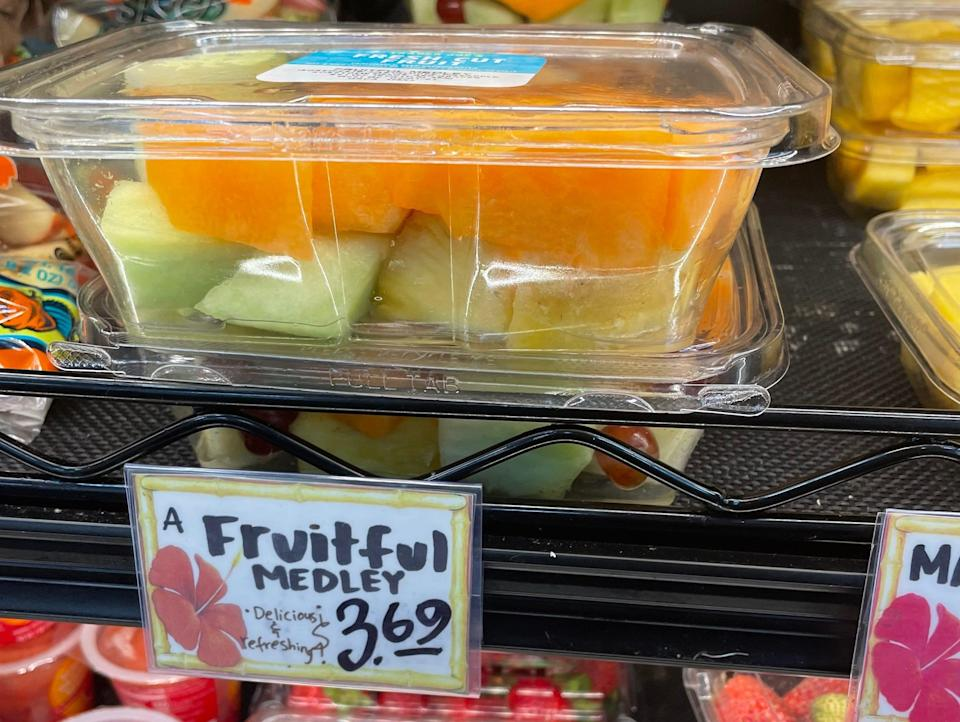 trader joe's mixed fruit container in produce section