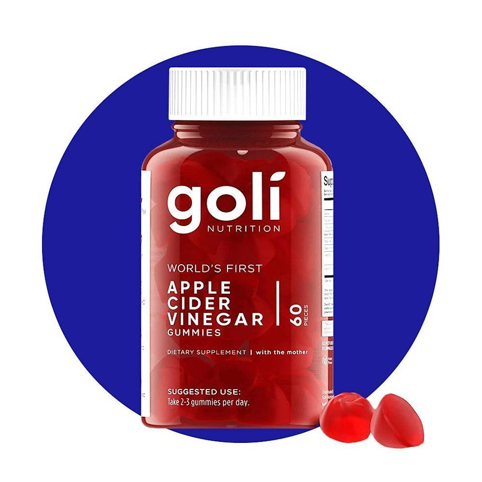 """<p><strong>Goli Nutrition</strong></p><p>amazon.com</p><p><strong>$61.95</strong></p><p><a href=""""https://www.amazon.com/dp/B07R8GD47V?tag=syn-yahoo-20&ascsubtag=%5Bartid%7C2089.g.34449251%5Bsrc%7Cyahoo-us"""" rel=""""nofollow noopener"""" target=""""_blank"""" data-ylk=""""slk:Shop Now"""" class=""""link rapid-noclick-resp"""">Shop Now</a></p><p>These organic <a href=""""https://www.bestproducts.com/eats/g29625270/apple-cider-vinegar-gummies/"""" rel=""""nofollow noopener"""" target=""""_blank"""" data-ylk=""""slk:apple cider vinegar gummies from Goli"""" class=""""link rapid-noclick-resp"""">apple cider vinegar gummies from Goli</a> are packed with ACV, vitamins B-9 and B-12, and superfoods including beetroot, pomegranate, and blackcurrant. </p><p>They taste like a fruit snack, and all you need are two of these bad boys per day to reap those glorious ACV benefits.</p>"""
