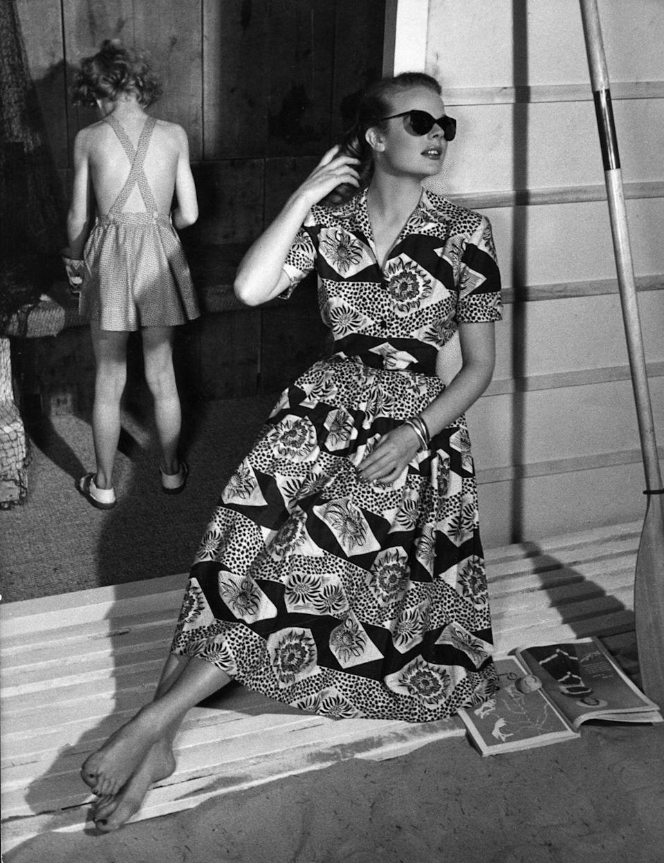 <p>A model wearing a two-piece printed skirt set from Horrocks. </p>