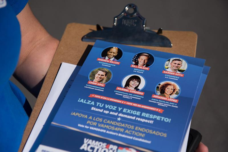 An information sheet showing political candidates in Florida. (Chris McGonigal/HuffPost)
