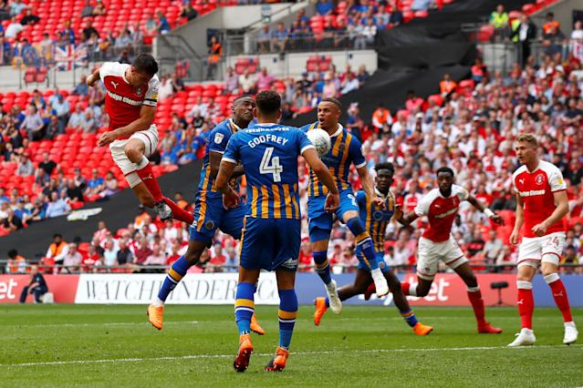 "Soccer Football - League One Play-Off Final - Rotherham United v Shrewsbury Town - Wembley Stadium, London, Britain - May 27, 2018 Rotherham's Richard Wood scores their first goal Action Images/Jason Cairnduff EDITORIAL USE ONLY. No use with unauthorized audio, video, data, fixture lists, club/league logos or ""live"" services. Online in-match use limited to 75 images, no video emulation. No use in betting, games or single club/league/player publications. Please contact your account representative for further details."