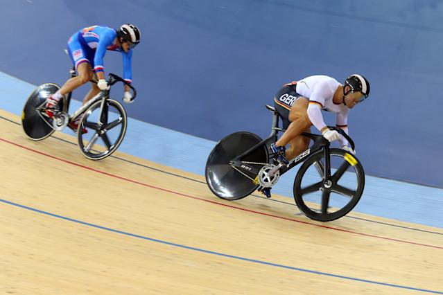 LONDON, ENGLAND - AUGUST 04: Robert Forstemann of Germany leads Pavel Kelemen of Czech Republic in the Men's Sprint Track Cycling 1/8 Final Repechages on Day 8 of the London 2012 Olympic Games at Velodrome on August 4, 2012 in London, England. (Photo by Cameron Spencer/Getty Images)