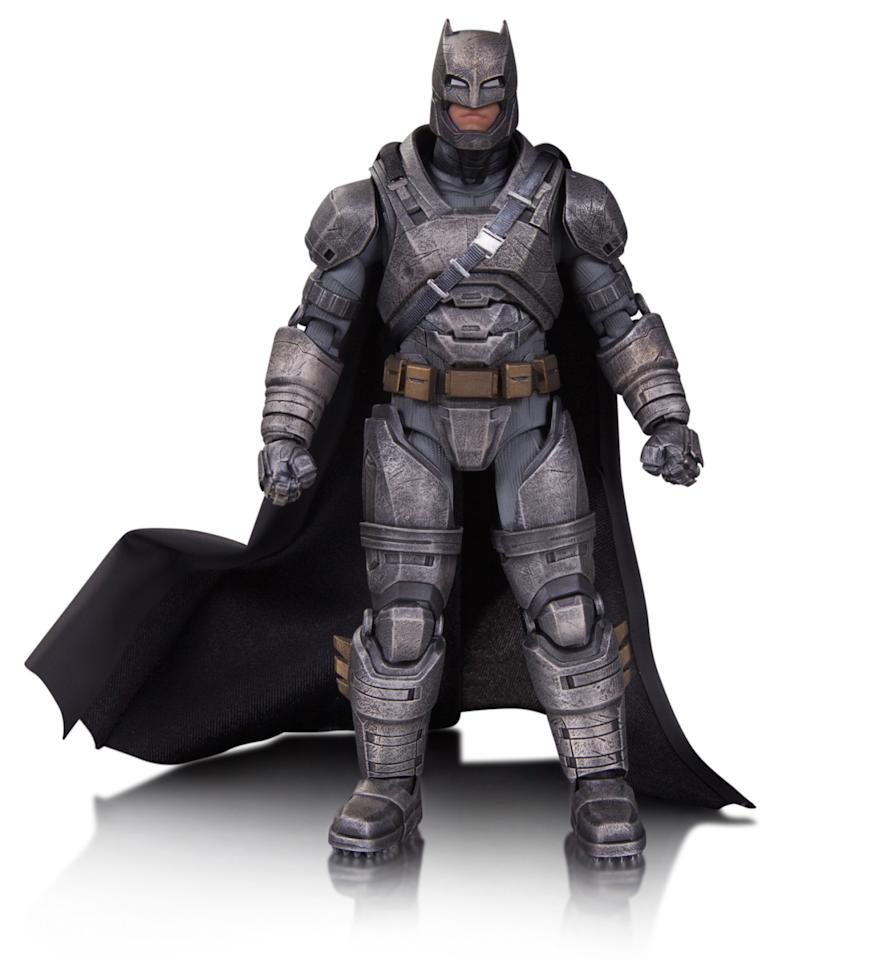 <p>The beefed-up Batsuit helps the Caped Crusader in his showdown with the Man of Steel in <i>Batman v Superman</i>. Bats was created using scans of Ben Affleck and, like the rest of the new figures, has 36 points of articulation. The figure also comes with swappable hands, accessories that include grapple gun and grenade launcher, and a stand. (<i>Available in September, $50)</i></p>