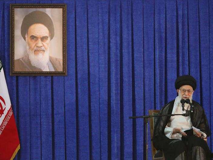 Iran's Supreme Leader Ayatollah Ali Khamenei delivers a speech during a ceremony marking the death anniversary of the founder of the Islamic Republic Ayatollah Ruhollah Khomeini, in Tehran, Iran, June 4, 2017. TIMA via REUTERS/File Photo