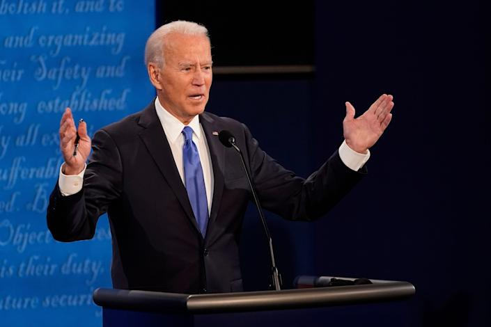 Democratic presidential candidate former Vice President Joe Biden answers a question during the second and final presidential debate Thursday, Oct. 22, 2020, at Belmont University in Nashville, Tenn.