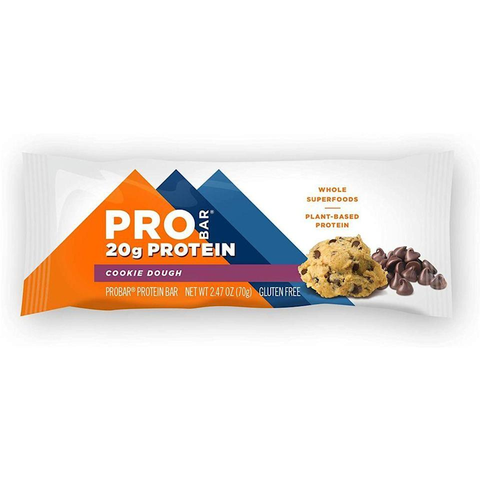 """<p><strong>Probar</strong></p><p>amazon.com</p><p><a href=""""https://www.amazon.com/dp/B00B97A4C2?tag=syn-yahoo-20&ascsubtag=%5Bartid%7C2139.g.19519889%5Bsrc%7Cyahoo-us"""" rel=""""nofollow noopener"""" target=""""_blank"""" data-ylk=""""slk:BUY NOW"""" class=""""link rapid-noclick-resp"""">BUY NOW</a></p><p>Probar's plant-based BASE protein bar contains 20 grams of protein and all nine essential amino acids, which is """"helpful for post-workout recovery,"""" Meyer-Jax says. Another bonus: There's no added sugar, and they still taste great.</p>"""