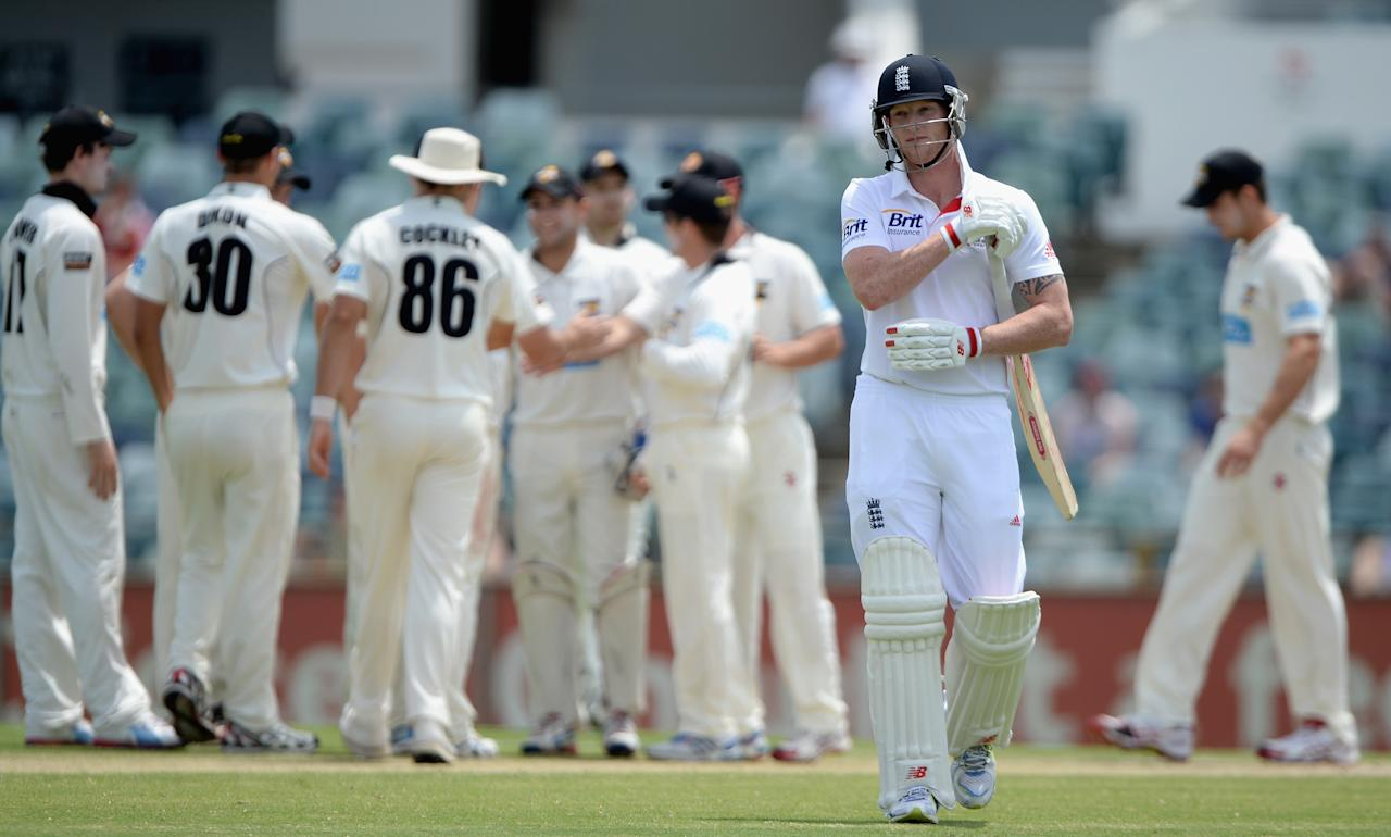 PERTH, AUSTRALIA - NOVEMBER 02:  Ben Stokes of England leaves the field after being dismissed by Jim Allenby of Chairman's XI during day three of the Tour match between the Western Australia Chairman's XI and England at the WACA on November 2, 2013 in Perth, Australia.  (Photo by Gareth Copley/Getty Images)