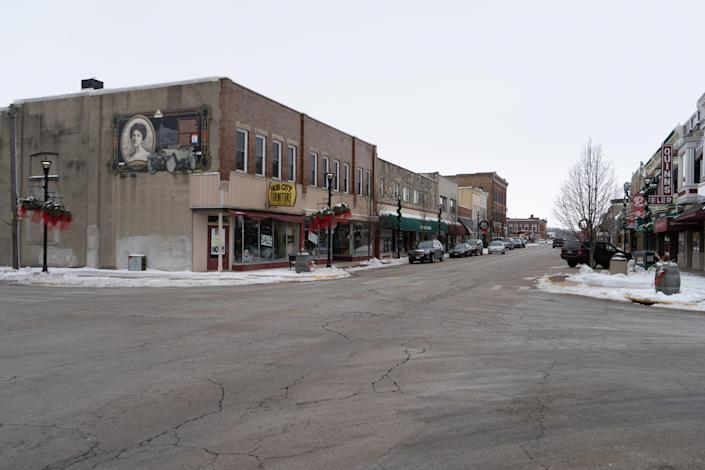 On January 11, Christmas decorations are still hanging from lampposts in downtown Rochelle, a city of about 9,100.