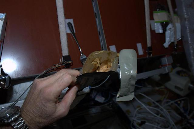 Lunch in a Pouch - this is Fiesta Chicken. Very tasty. You can see my long spoon velcroed to the table.