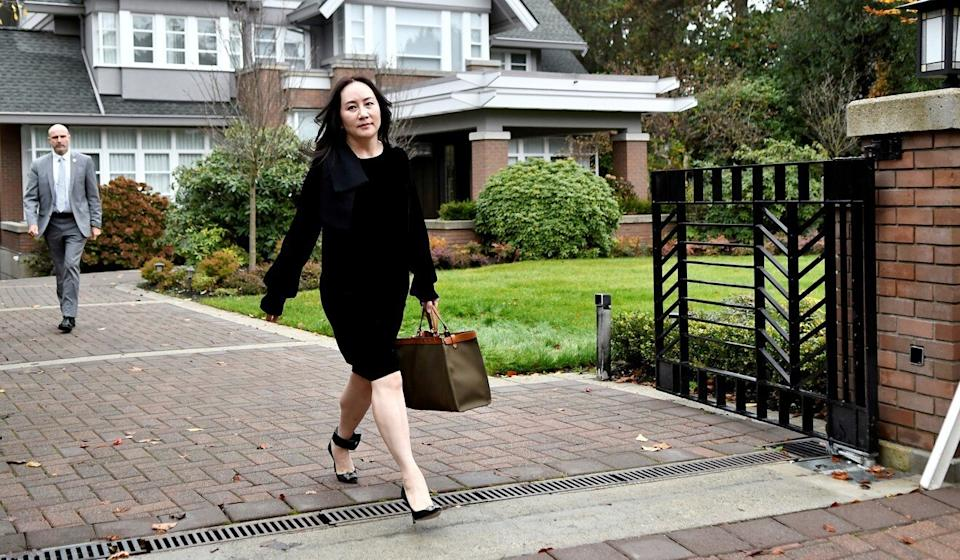 Huawei Technologies Chief Financial Officer Meng Wanzhou leaves her home to attend a court hearing in Vancouver on November 16, 2020. Photo: Reuters