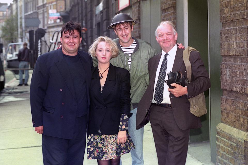 """GOODNIGHT SWEETHEART"" AND NEW MARKS & GRAN COMEDY FOR BBC-1, WHICH STARTS ITS SIX-PART RUN ON THURSDAY, NOVEMBER 18TH AT 8.30PM, AND STARS (L-R) VICTOR MCGUIRE, MICHELLE HOLMES, NICHOLAS LYNDHURST AND DAVID RYALL. (Photo by Stefan Rousseau - PA Images/PA Images via Getty Images)"