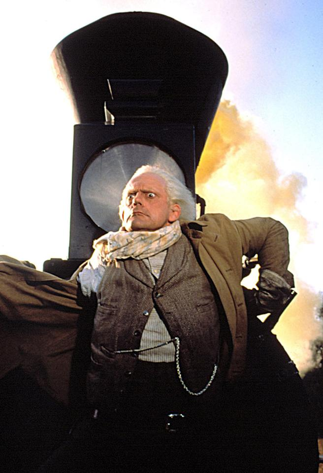 "Movie: <a href=""http://movies.yahoo.com/movie/1800030906/info"">Back to the Future 3</a>  Catastrophe: Marty needs to make it to 88 miles an hour, but the bridge is out.   Outcome: Marty makes it. The train doesn't."