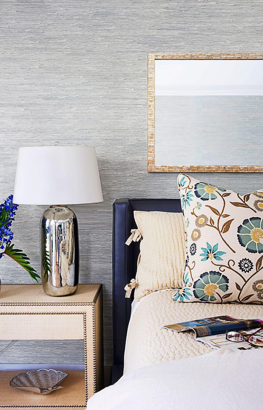 <p>Conjure your personal oasis with cool hues and subtle details. Ocean colors, like blue sea grass wallpaper, create a calming space.</p>