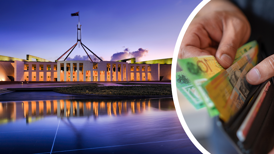 Parliament house in Canberra and $100 notes being removed from a wallet.