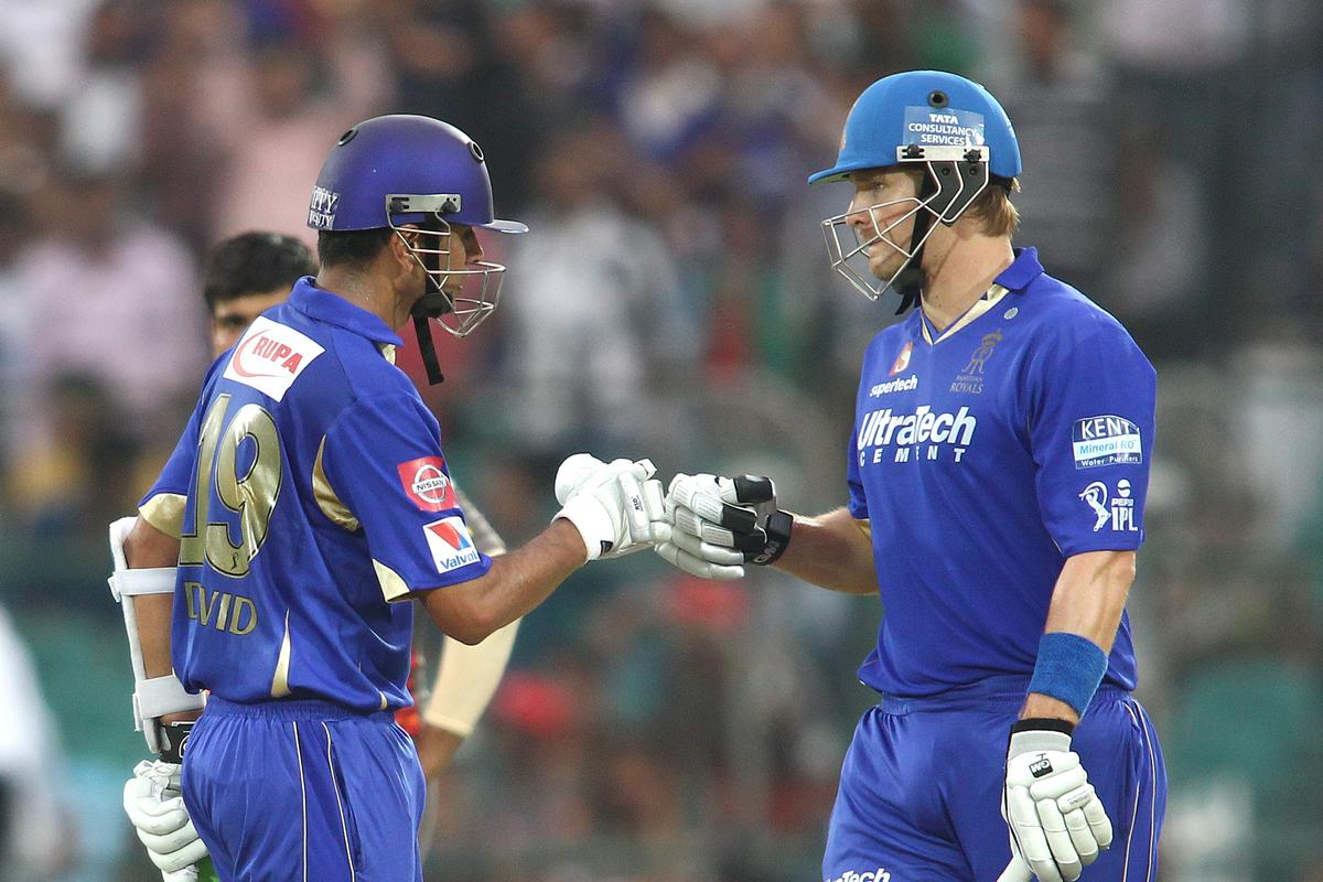 Rajasthan Royals captain Rahul Dravid and Shane Watson of Rajasthan Royals celebrate a boundary during match 36 of the Pepsi Indian Premier League (IPL) 2013 between The Rajasthan Royals and the Sunrisers Hyderabad held at the Sawai Mansingh Stadium in Jaipur on the 27th April 2013. (BCCI)
