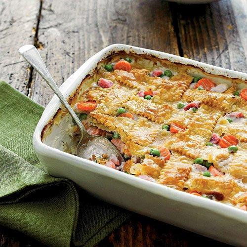 "<p><strong>Recipe:</strong> <a href=""https://www.southernliving.com/syndication/ham-vegetable-cobbler""><strong>Ham-and-Vegetable Cobbler</strong></a></p> <p>Put this cobbler on your list of weeknight warriors. The savory latticed casserole is made with frozen vegetables, diced cooked ham, and store-bought piecrusts, making it—oh, we don't know—the simplest prep ever. </p>"