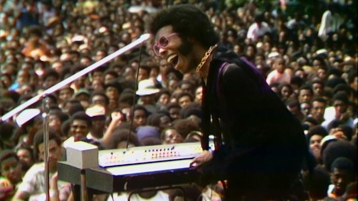 "Musician Sly Stone performs in the documentary ""Summer of Soul (... Or, When the Revolution Could Not Be Televised)"""