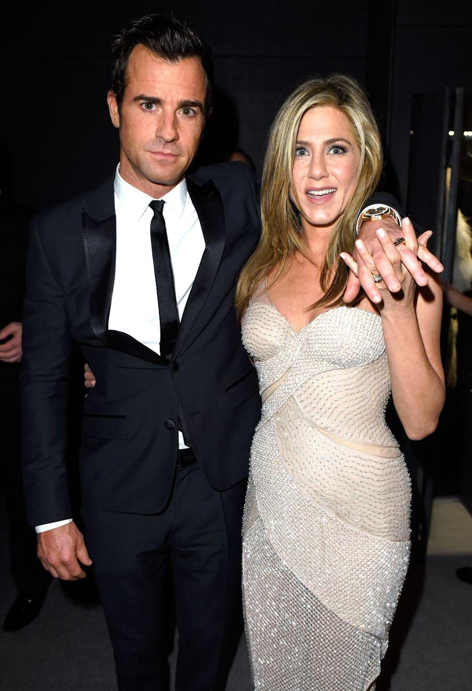 """<p>Jennifer Aniston and Justin Theroux <a href=""""http://people.com/celebrity/jennifer-aniston-and-justin-theroux-marry-in-bel-air-on-august-5/"""" rel=""""nofollow noopener"""" target=""""_blank"""" data-ylk=""""slk:tie the knot"""" class=""""link rapid-noclick-resp"""">tie the knot</a> (or <a href=""""https://www.marieclaire.com/celebrity/a18217917/jennifer-aniston-justin-theroux-not-legally-married/"""" rel=""""nofollow noopener"""" target=""""_blank"""" data-ylk=""""slk:at least have a ceremony"""" class=""""link rapid-noclick-resp"""">at least have a ceremony</a>).</p>"""