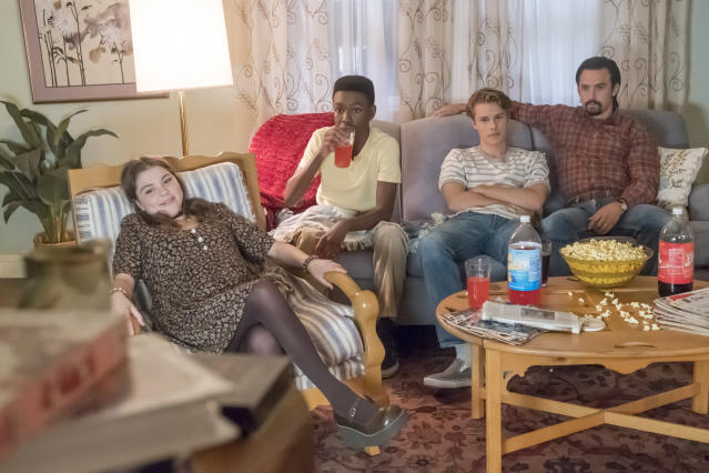 <p>Hannah Zeile as Kate, Niles Fitch as Randall, Logan Shroyer as Kevin, and MIlo Ventimiglia as Jack in NBC's <i>This Is Us</i>.<br>(Photo: Ron Batzdorff/NBC) </p>