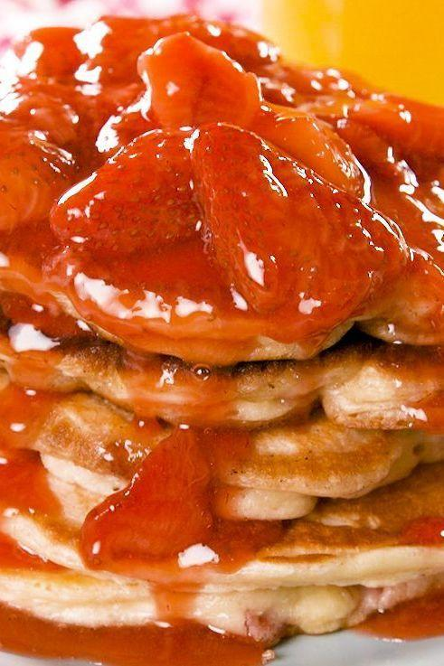 "<p>We took our <a href=""https://www.delish.com/uk/cooking/recipes/a30452165/pancake-recipe/"" rel=""nofollow noopener"" target=""_blank"" data-ylk=""slk:perfect pancakes"" class=""link rapid-noclick-resp"">perfect pancakes</a> and added a little cream cheese and strawberries to make the most addicting pancake ever. Then we topped them with a simple homemade strawberry syrup to really make then unforgettable.</p><p>Get the <a href=""https://www.delish.com/uk/cooking/recipes/a32485162/strawberry-cheesecake-pancakes-recipe/"" rel=""nofollow noopener"" target=""_blank"" data-ylk=""slk:Strawberry Cheesecake Pancakes"" class=""link rapid-noclick-resp"">Strawberry Cheesecake Pancakes</a> recipe.</p>"