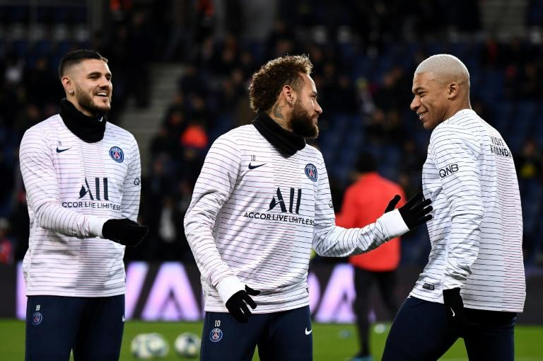 Mauro Icardi alongside Neymar and Kylian Mbappe. The Argentine recently signed for PSG on a permanent transfer from Inter Milan (AFP Photo/FRANCK FIFE)