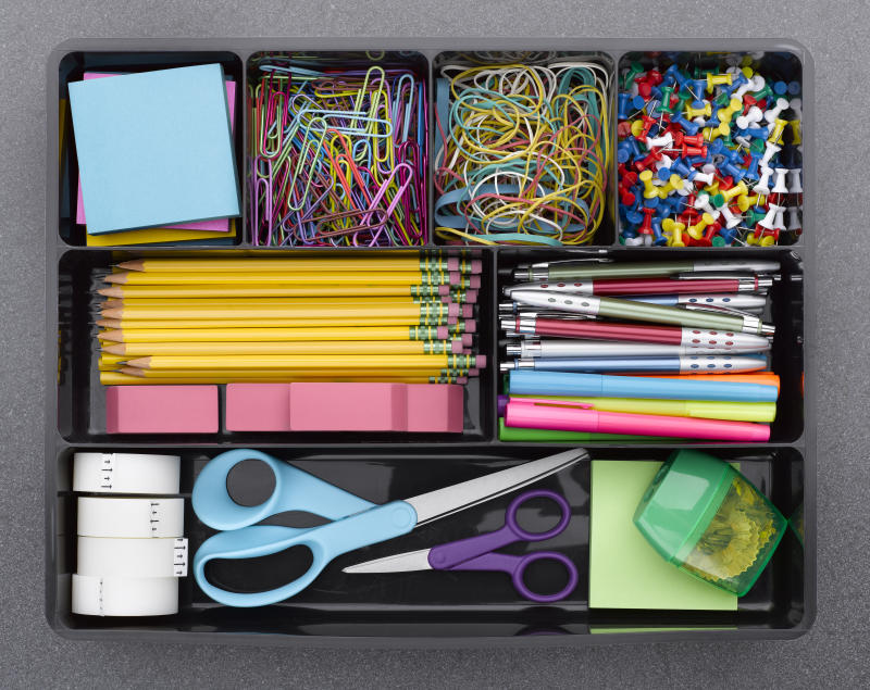 Office Supplies in Tray