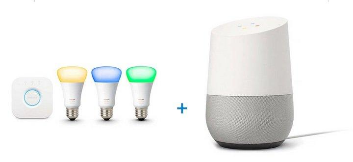 With Google Home you can control Philips Hue lights with your voice. Credit: Walmart